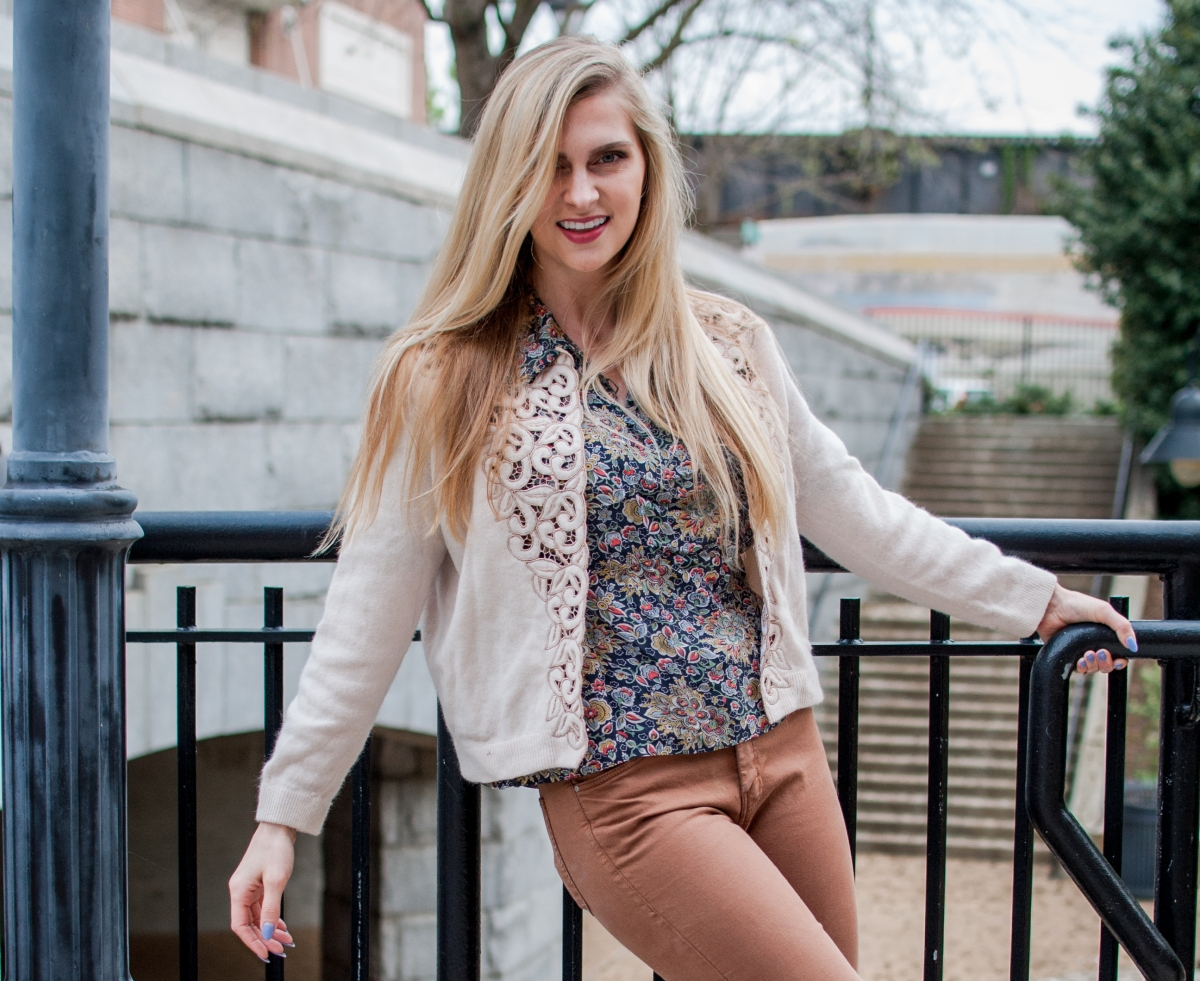 Wearing a vintage blouse with modern clothes